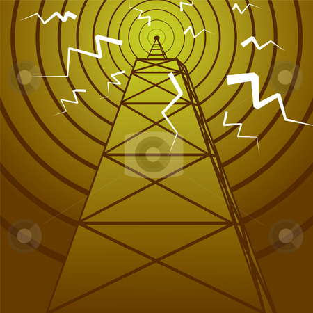 Radio mast stock photo, Abstract old fashioned radio mast with a radiating signal by Michael Travers