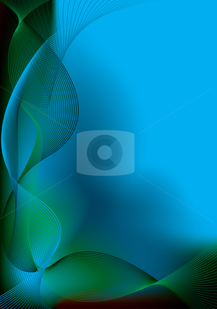 Cool blue glide stock photo, Abstract blue and green background with flowing wavy lines by Michael Travers