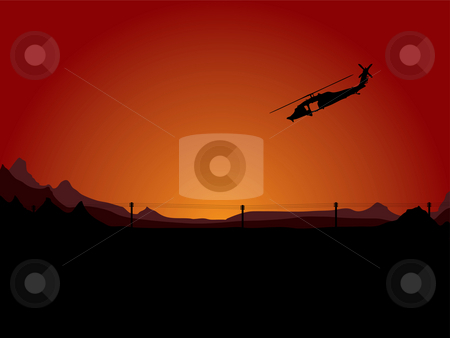 Night assult stock photo, Illustration of a helicopter on night patrol in an arid desert by Michael Travers