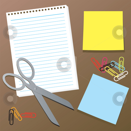 Office collection stock photo, A illustrated collection of office equipment and supplies by Michael Travers