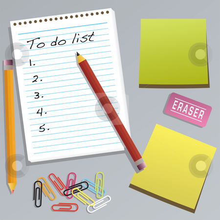 Office collection to do stock photo, An office collection with a to do list drawn in illustrator by Michael Travers