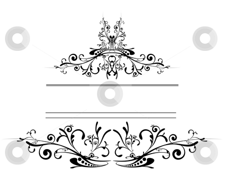 Floral logo shield stock photo, Floral inspired tattoo style logo in black and white by Michael Travers