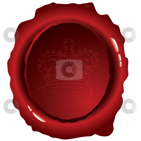 Oval wax seal stock photo, Old fashioned wax seal ideal to indicate security by Michael Travers