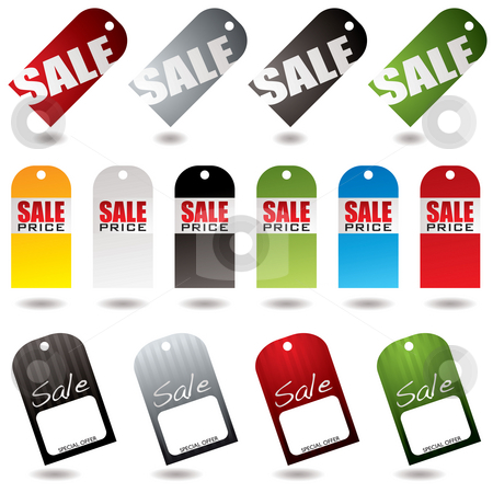 Sale tags collection stock photo, Collection of blank sale tags all with drop shadows by Michael Travers