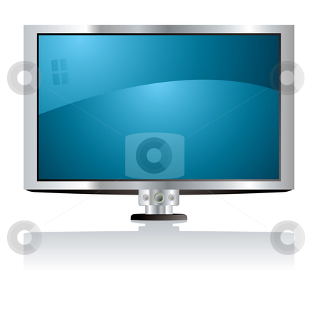 LCD tv blue stock photo, Illustration of a lcd tv with a blue screen and silver surround by Michael Travers