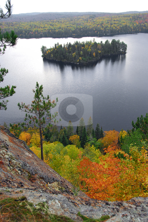 Lake scenery stock photo, Scenic view of lake and island in Algonquin provincial park Ontario Canada from hill top by Elena Elisseeva