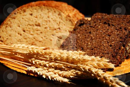 Rye bread stock photo, Two types of rye bread with rye ears by Elena Elisseeva