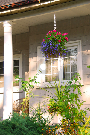 House porch stock photo, Porch of a cozy house with blooming flowers by Elena Elisseeva