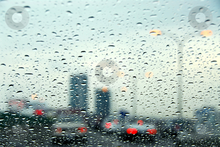 Traffic rainy day stock photo, Traffic on a rainy day by Elena Elisseeva