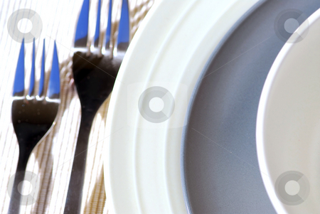 Place setting stock photo, Closeup of dinner place setting shallow dof by Elena Elisseeva