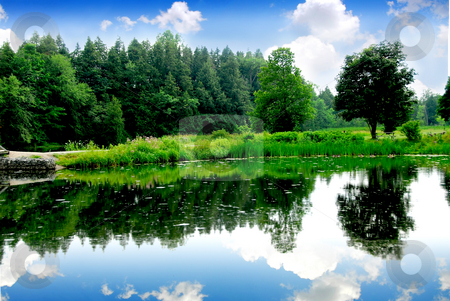 River landscape stock photo, River landscape with sky reflection in water by Elena Elisseeva