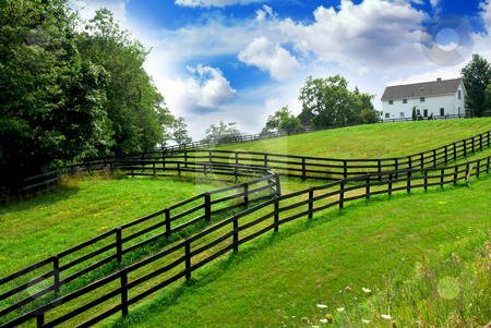 Rural landscape farmhouse stock photo, Rural landscape with lush green fields and farm house by Elena Elisseeva