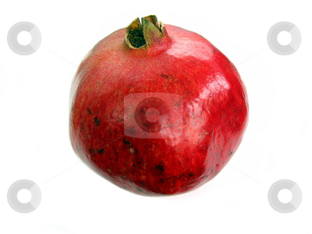 Red pomegranate on white background stock photo, Bright red isolated pomagranate on white background by Elena Elisseeva