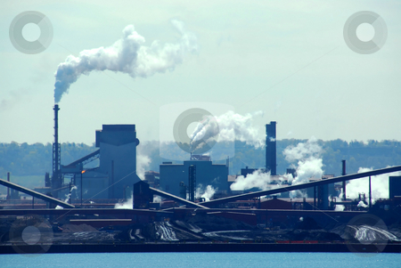 Industrial pollution stock photo, Steel mill industrial pollution by Elena Elisseeva
