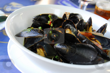 Mussels stock photo, Mussels at the restaurant by Elena Elisseeva