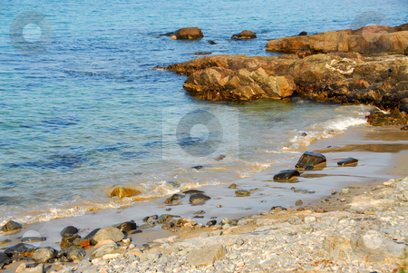 Atlantic coast stock photo, Rocks at Atlantic ocean coast in Maine by Elena Elisseeva
