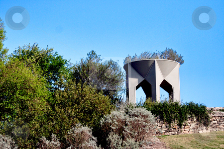 Scenic Garden stock photo, A shot down a scenic garden with a tower in the background by Kevin Tietz