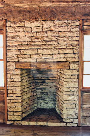 Fireplace stock photo, An old log cabin fireplace by Kevin Tietz
