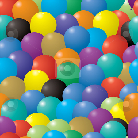 Balloon repeat stock photo, Seamless repeating illustrated balloon background in various colors by Michael Travers