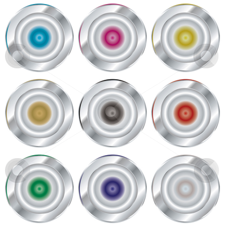 Silver reflect stock photo, Collection of silver buttons with color variations and copy space by Michael Travers