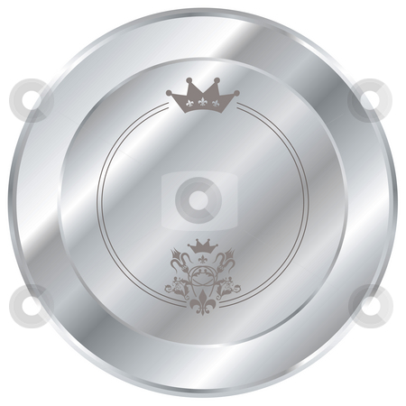 Silver button stock photo, Shiny silver button with a crown and beveled edges by Michael Travers