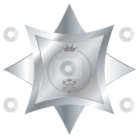 Silver star stock photo, Shiny silver button with a crown and beveled edges by Michael Travers