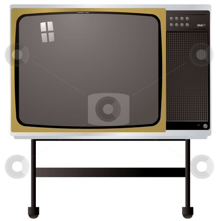 Seventies tv stock photo, Illustration of a tv from the seventies with metal stand by Michael Travers
