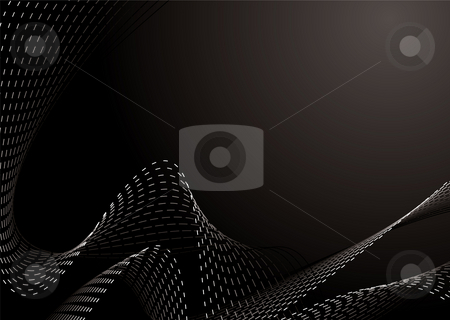 Dotty wave stock photo, Flowing illustrated abstract design in black and white by Michael Travers