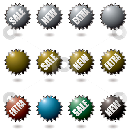 Explode buttons stock photo, Collection of icons with drop shadow with sale text by Michael Travers