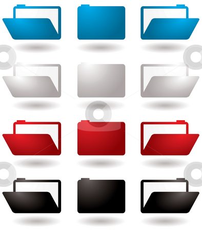 Folder icon stock photo, Illustrated 3d folder icons in four colour variations by Michael Travers