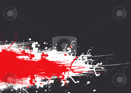 Ink drag red stock photo, Abstract red and gray design concept with ink splats by Michael Travers