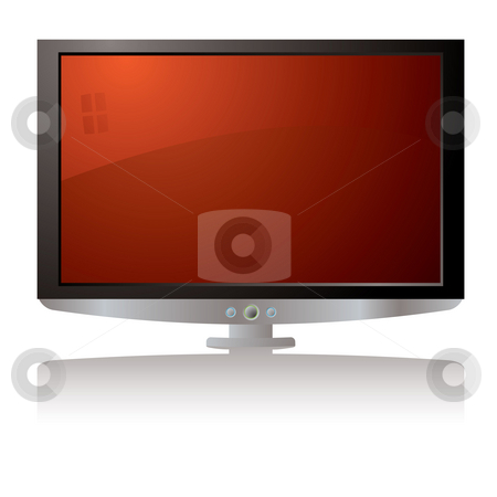 LCD tv red stock photo, Modern illustration of a lcd tv with a drop shadow by Michael Travers