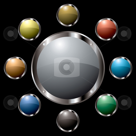 Metal surround centre stock photo, Button colourful collection all with metalic silver bevels by Michael Travers