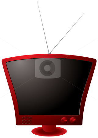 Red retro tv stock photo, Retro styled tv illustration with metal antenna in red by Michael Travers
