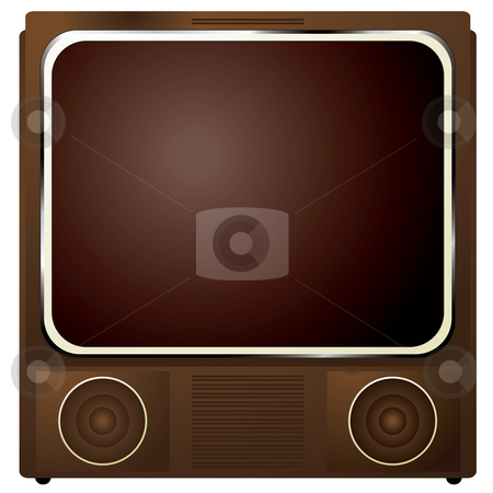 Square tv stock photo, Early television in a wooden box and retro styling by Michael Travers