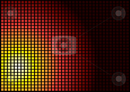 Sun square stock photo, Sun abstract background in a tile formation in red hot colours by Michael Travers