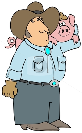 Pig Farmer stock photo, This illustration depicts a farmer carrying a large pig on his shoulder. by Dennis Cox