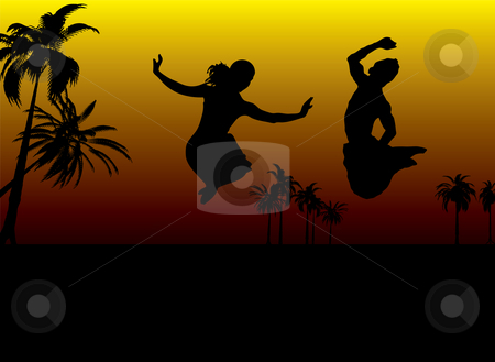 Sunset couple stock photo, Sun setting over the sesert with a young couple jumping for joy by Michael Travers