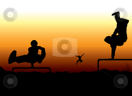 Sunset extreme stock photo, Group of young men pushing the limits of their talent as the sunsets by Michael Travers