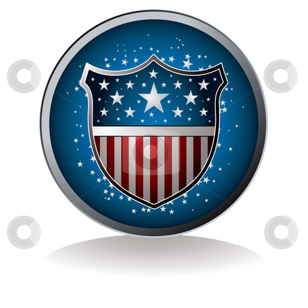 Us badge stock photo, American inspired badge with drop shadow and star background by Michael Travers