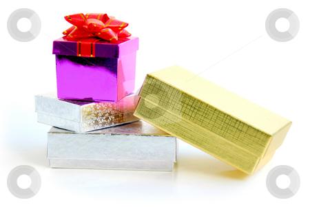 Gift boxes stock photo, Gift boxes on white background by Elena Elisseeva