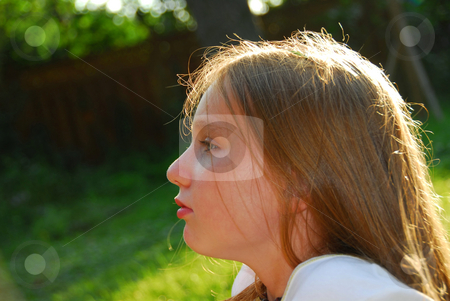 Girl child portrait stock photo, Portrait of a beautiful young girl outside at summertime by Elena Elisseeva