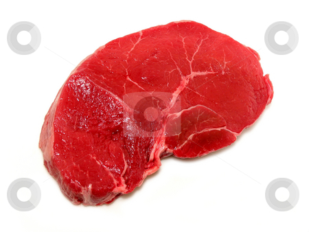 Raw steak on white background stock photo, Raw steak isolated on white background by Elena Elisseeva