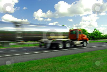 Speeding truck gasoline stock photo, Speeding truck delivering gasoline on highway by Elena Elisseeva