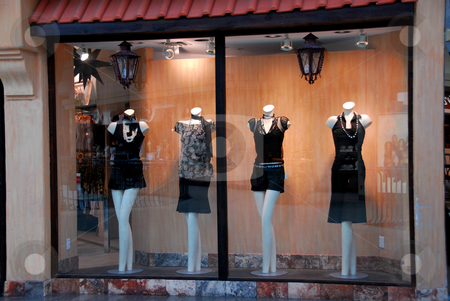 Boutique window stock photo, Boutique window with dressed mannequins by Elena Elisseeva
