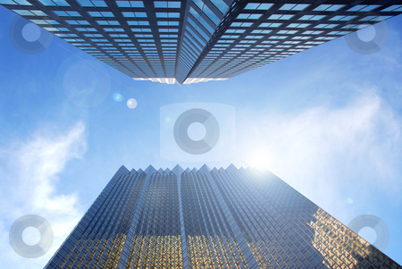 Skyscrapers stock photo, Modern glass and steel skyscrapers in city center by Elena Elisseeva