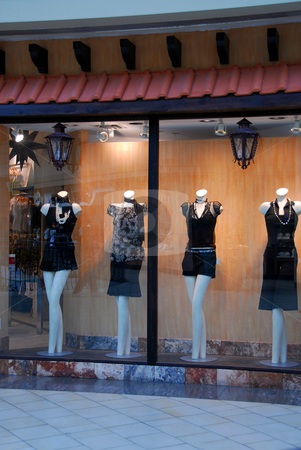 Boutique window stock photo, Boutique window with dressed mannequins in shopping mall by Elena Elisseeva