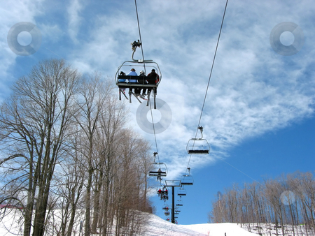 Ski chairlift stock photo, Ski chairlift on a bright day by Elena Elisseeva