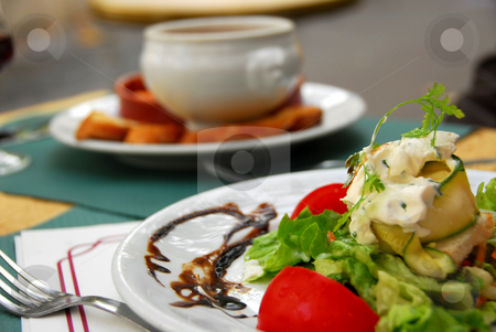 Lunch stock photo, Healthy lunch of soup and vegetable salad by Elena Elisseeva