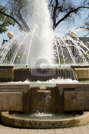 Fountain stock photo, Close-up of a large water fountain with the water in motion blur by Richard Nelson